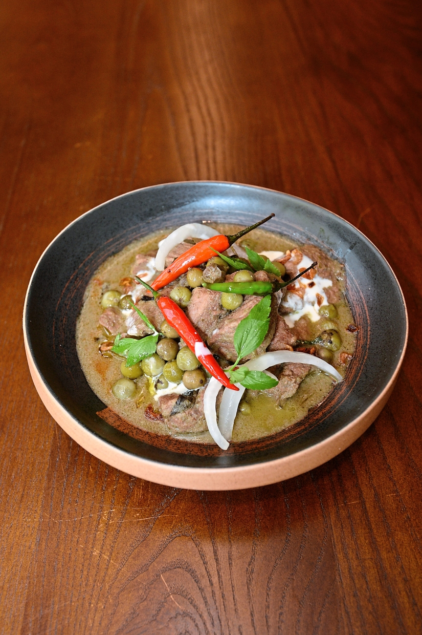 Green beef curry with pea eggplant.
