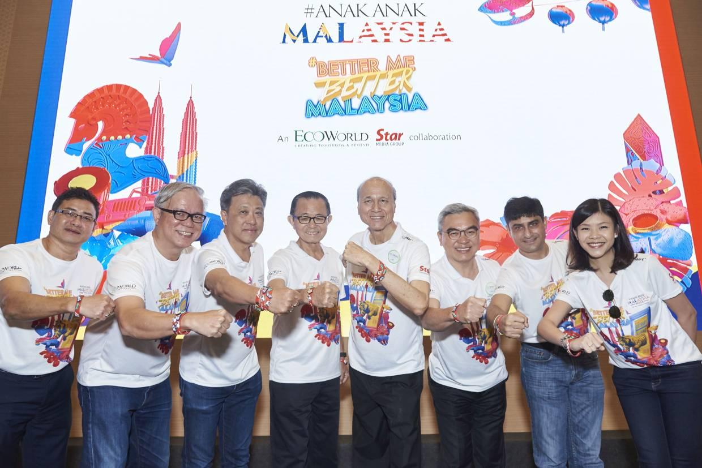 (From left) Kamil Azhar Mustafa, DRB-HICOM Berhad; Chew Keng Heng,  Panasonic; Datuk Seri Wong Chun Wai, Star Media Group Berhad; Dato' Fu Ah Kiow, Star Media Group Berhad; Tan Sri Lee Lam Thye, Chairman, #AnakAnakMalaysia 2019; Tan Sri Liew Kee Sin, Eco World Development Group Berhad; Mr. Pappan Majumdar, Fox Networks Group Malaysia; and Ms. Melissa Low, Creative Cult Sdn Bhd with their new wristbands and pins at the launch of #AnakAnakMalaysia 2019