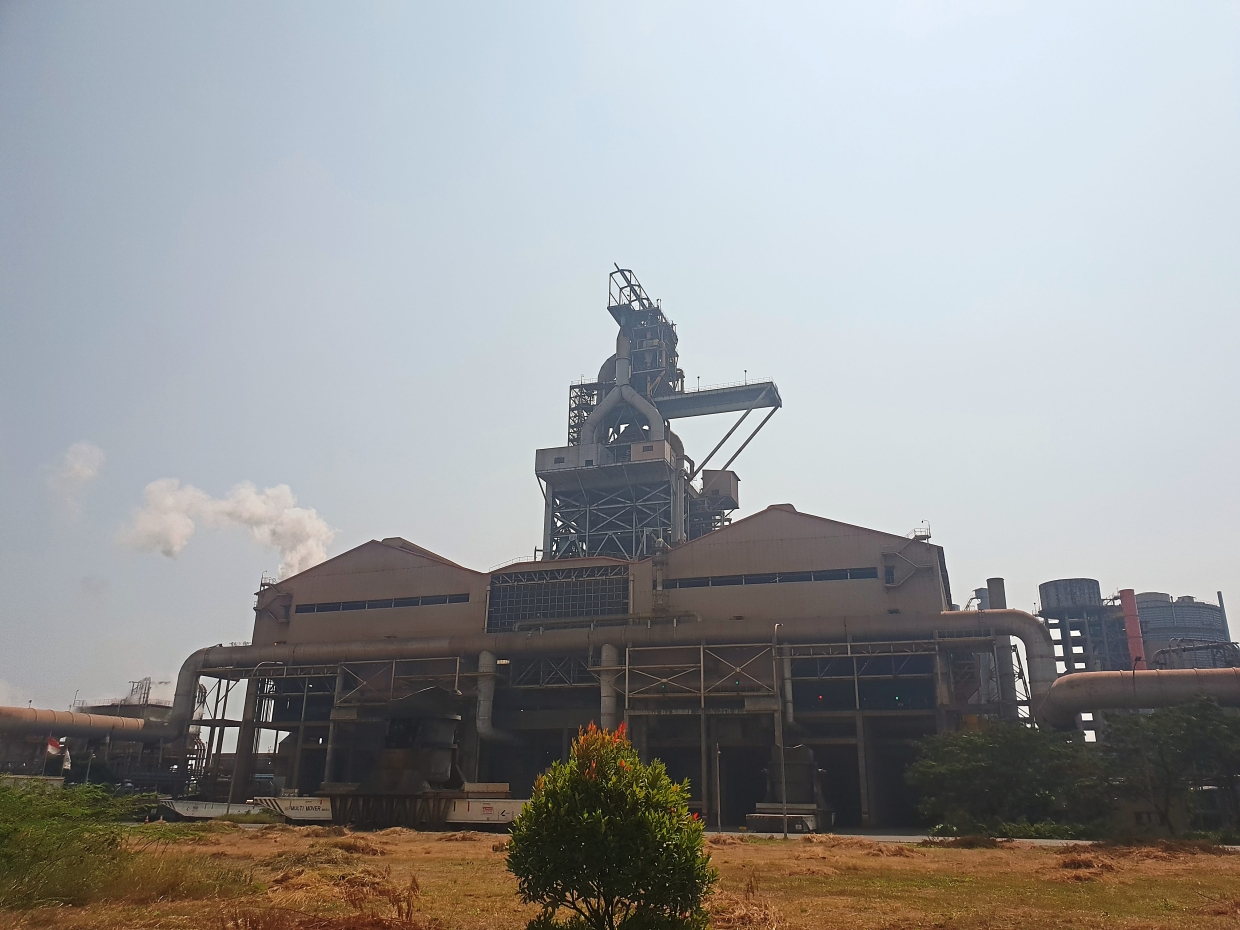 Steelmaking centrepiece: The 110m-tall blast furnace structure of Krakatau-Posco's steel plant is capable of producing 8, 300 tonnes of molten steel a day.