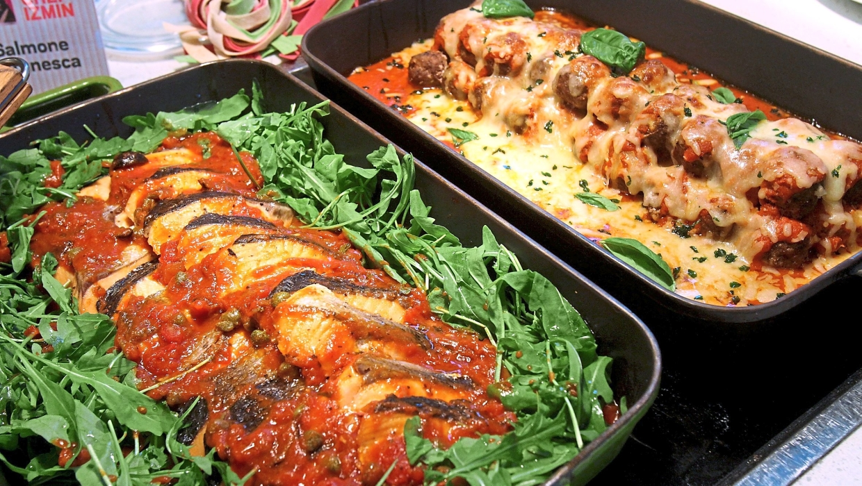 Mohd Izmin uses lots of tomatoes for his Polpette Al Formagio e Pomodoro (right) and Salmone Putanesca.