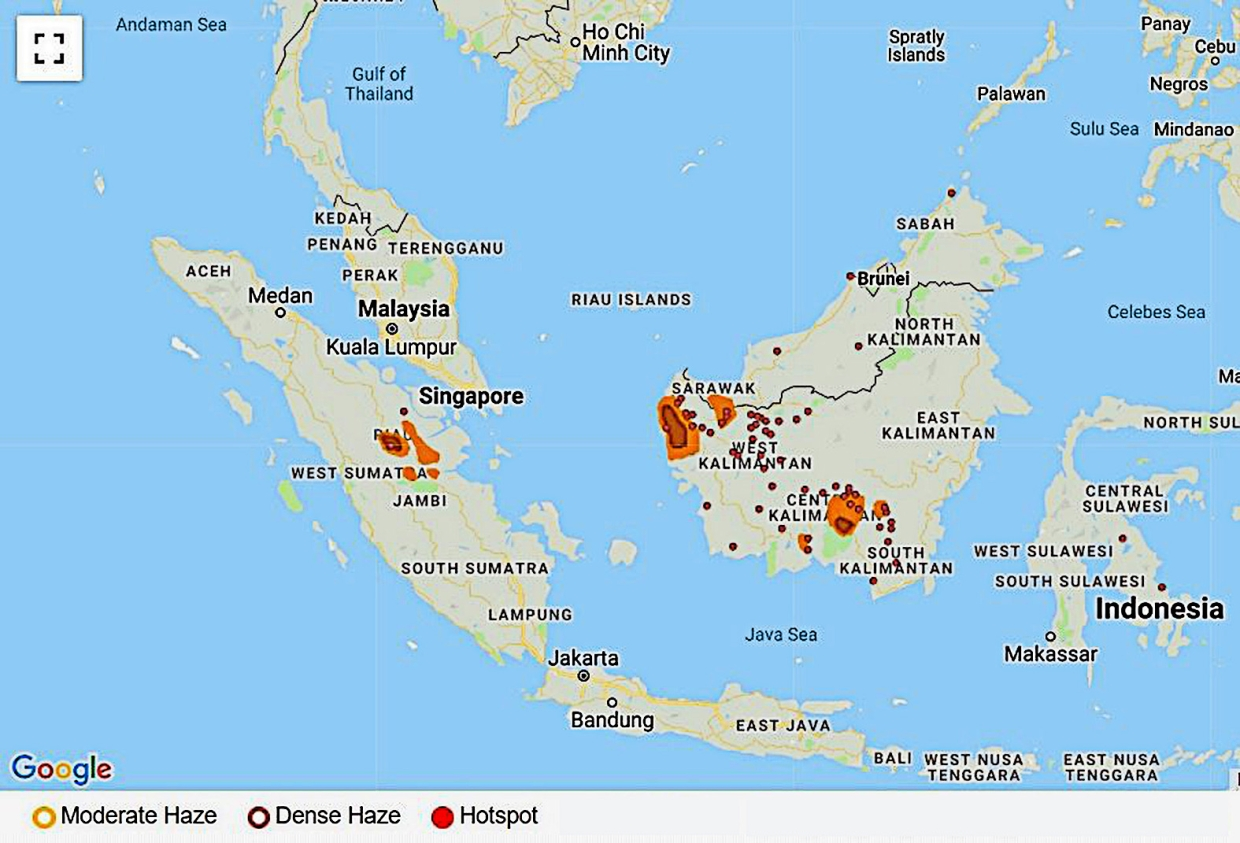 Burning fields: An ASMC map dated Aug 11 detailing the location of hotspots and dense haze areas in Indonesia and Malaysia.