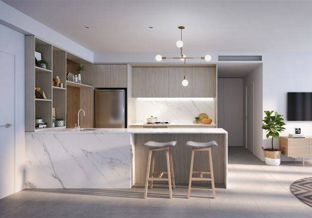 The spacious open-plan kitchen makes for a bright, airy atmosphere.