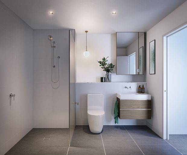 Generously spaced, the bathroom resonates a resort-like ambience through its clever use of colours and textures.