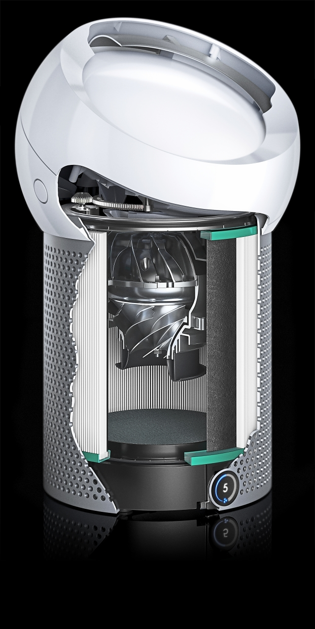 The Core Flow technology which powers the purifier is inspired by the Harrier Jet.