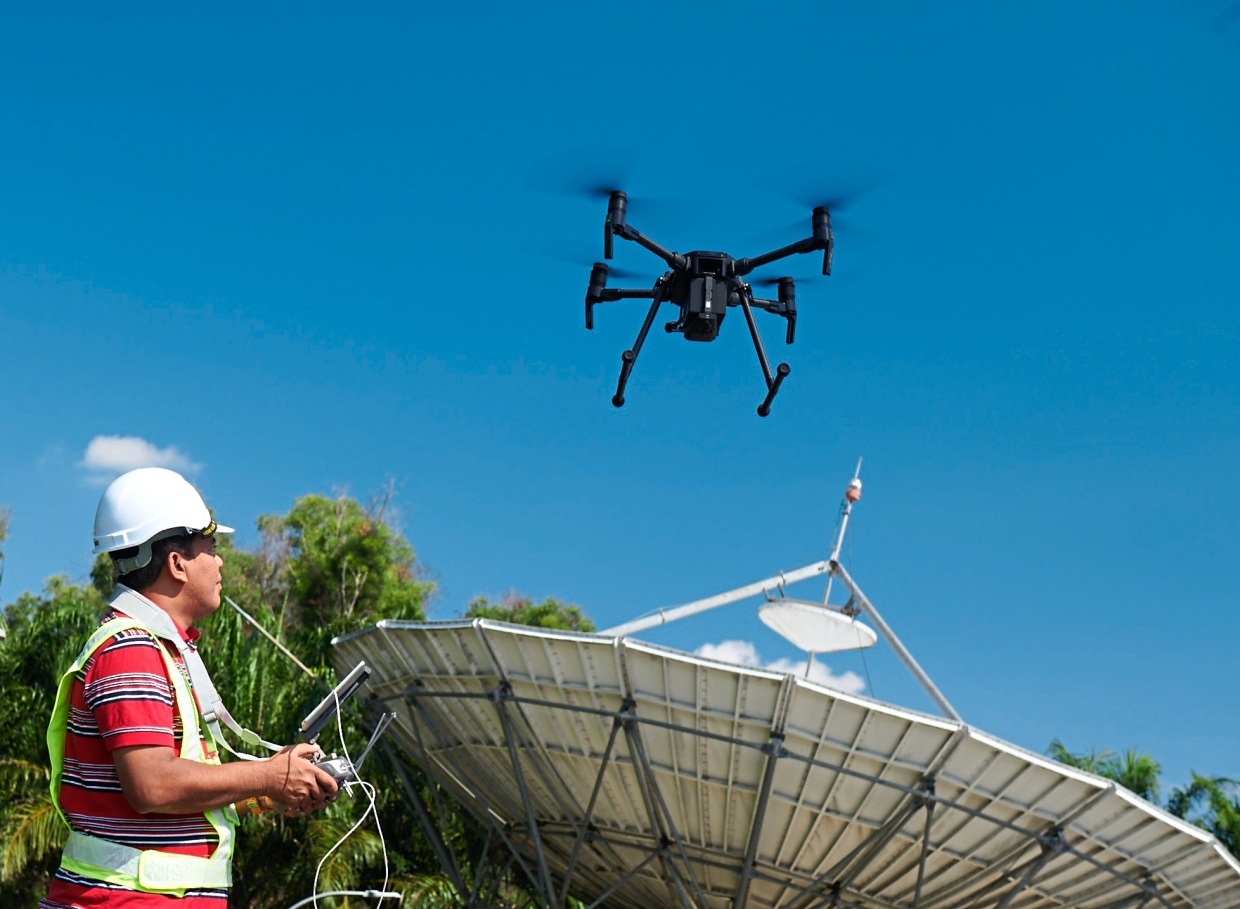Maxis uses the SkyEye drone to inspect its network infrastructure. — Maxis