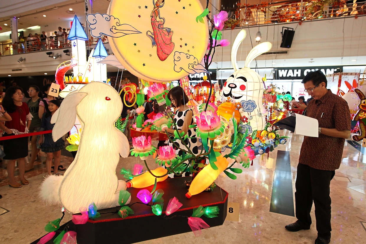 Some 700 rabbit shaped lanterns are on display at Cheras Leisure Mall