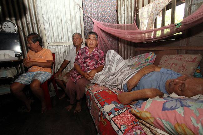 Poverty plight... The three elderly siblings who need assistance help at their home at Falim