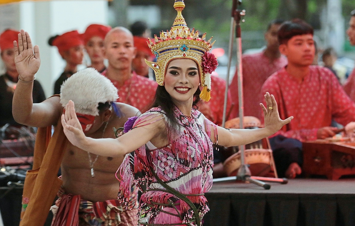 Dancers performing a Thai cultural dance during the festival.