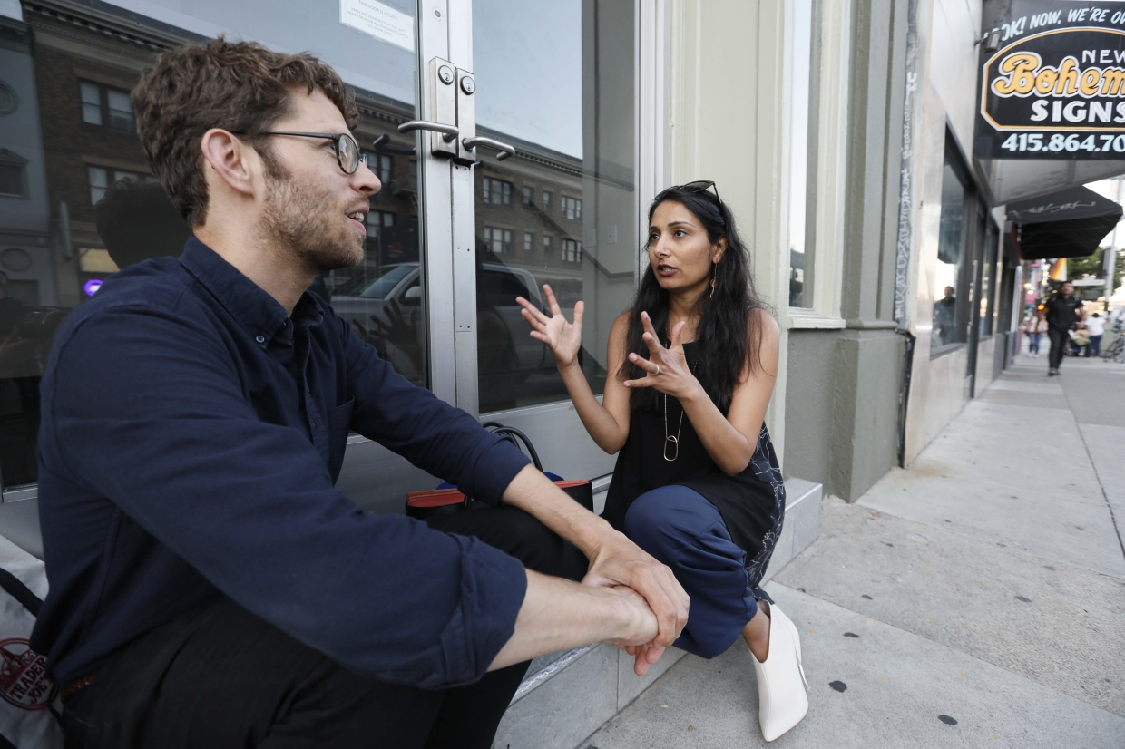 Dubal talking with user experience researcher Danny Spitzberg in San Francisco. Dubal has interviewed dozens of tech workers involved in organising and activism as part of her research on social change. In the past few years, tech employees have increasingly attempted to remake their industry from the inside out.