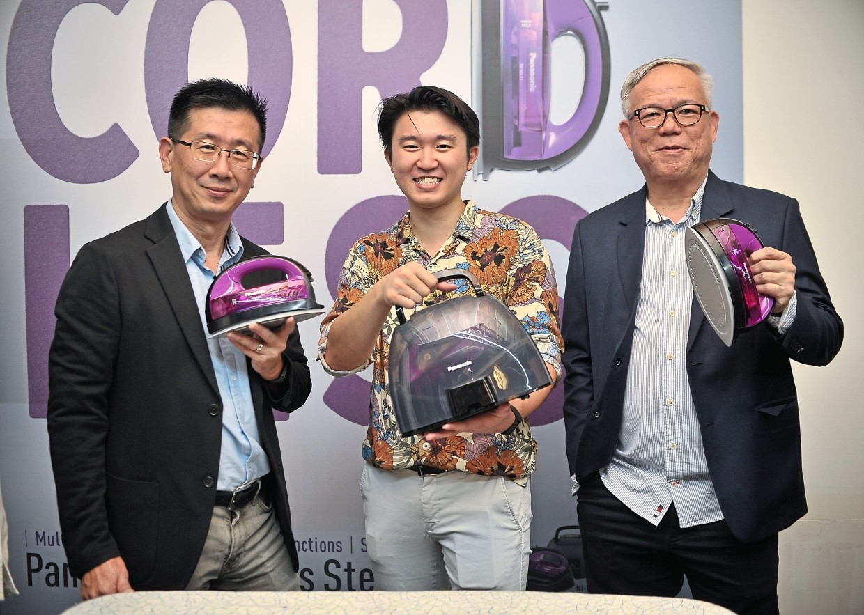 (From left) Panasonic Malaysia audio visual communication department and home appliances marketing department general manager Ng Hong Ping, Ling and marketing innovation department general manager Chew Keng Heng with the new products.