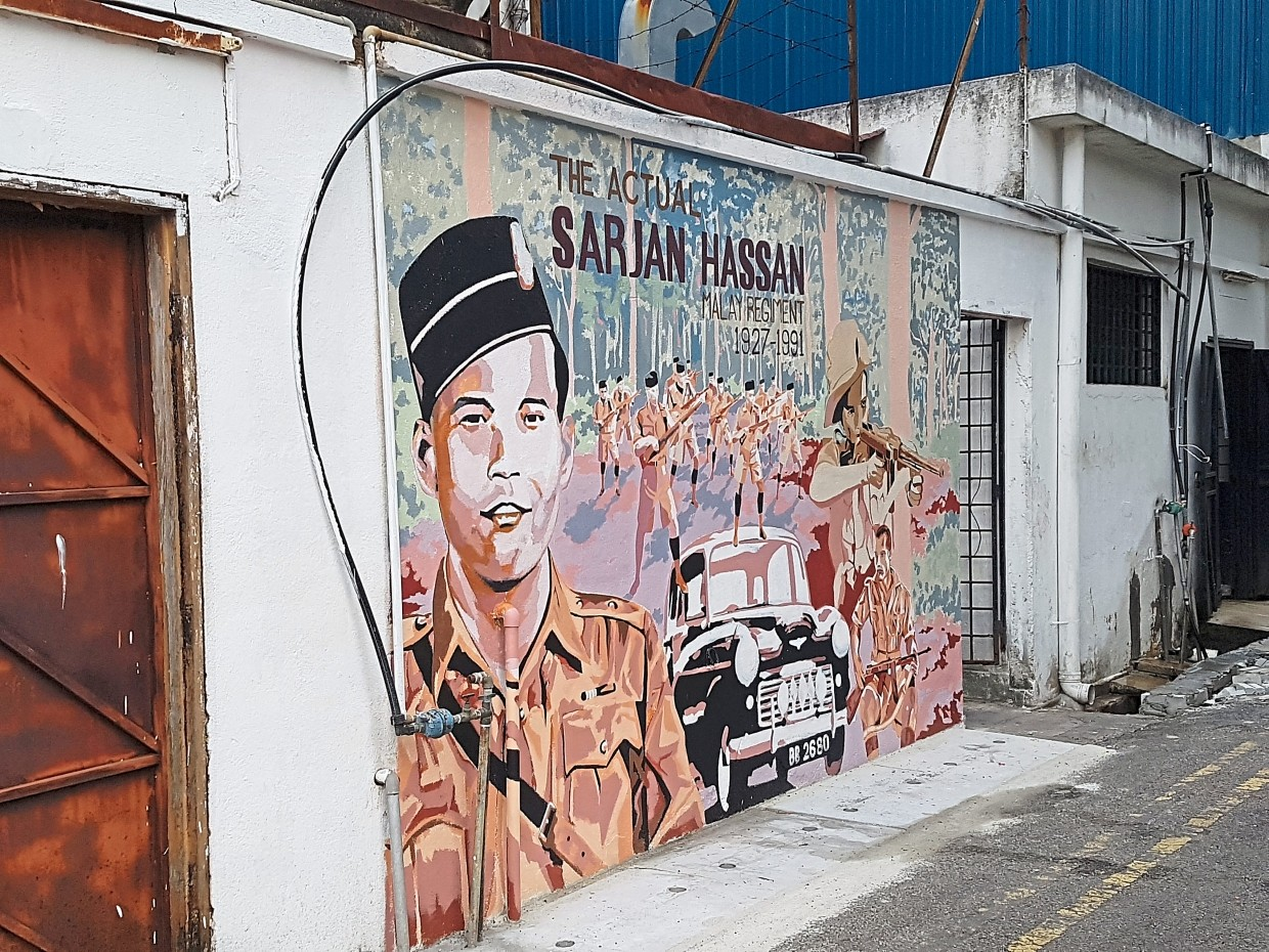 This vintage poster-style artwork pays homage to Sergeant Hassan.