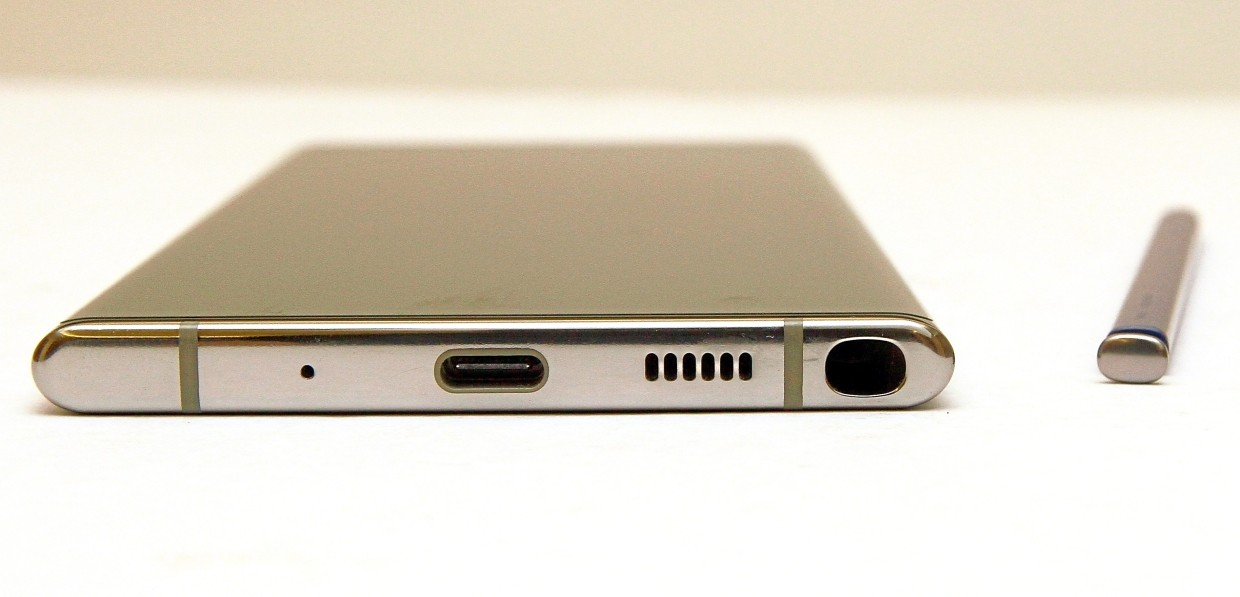 The Samsung Galaxy Note 10+ does away with the 3.5mm audio jack, requiring users to either use a USB-C to 3.5mm converter or connect to Bluetooth headphones. — CHAN TAK KONG/The Star