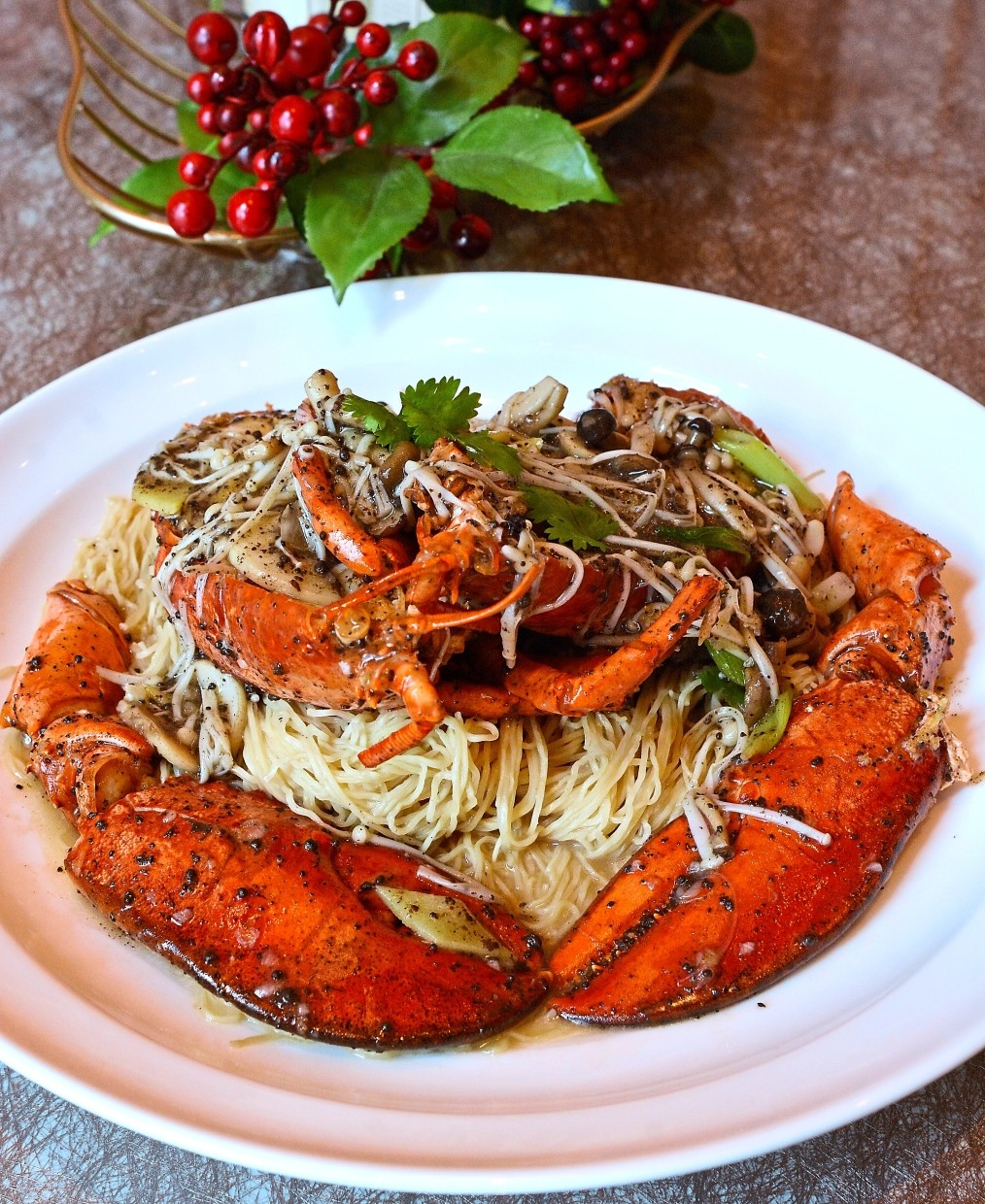 The signature Stewed Egg Noodles with Boston Lobster is an indulgence.