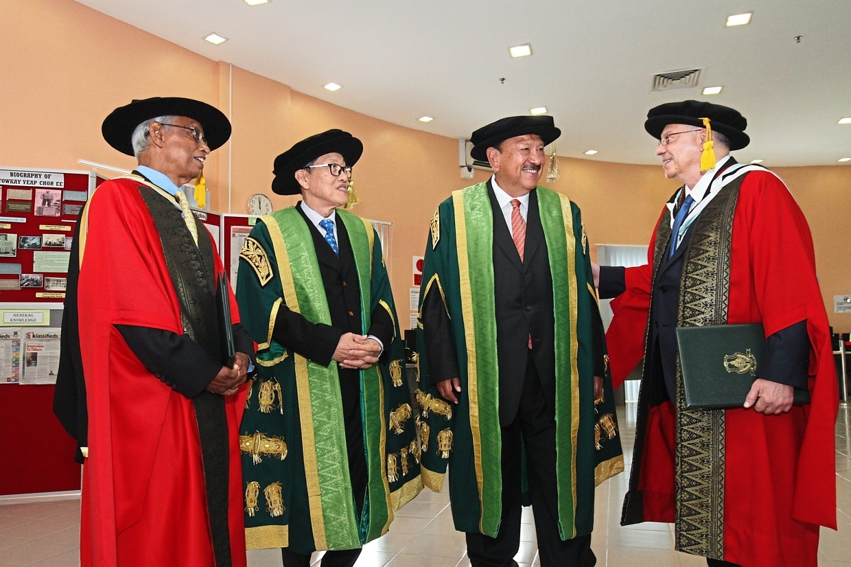 (From left) Prof Gajaraj, Dr Lim, Tunku Imran and Abdul Rashid sharing a light moment after the ceremony.