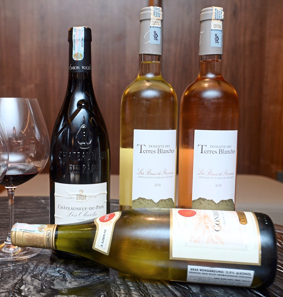 The four wines served during the Rhone and Provence Specialty Food Festival.are Condrieu 2010, Chateauneuf-du-Pape 'Les Olivets' 2010, Domaine Des Terres Blanches Rose 2016 and Domaine Des Terres Blanches Blanc 2016.