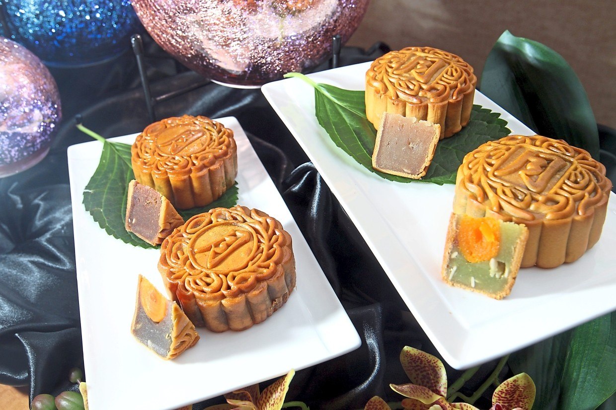 A variety of traditional baked mooncakes for the picking at Concorde Hotel Kuala Lumpur.