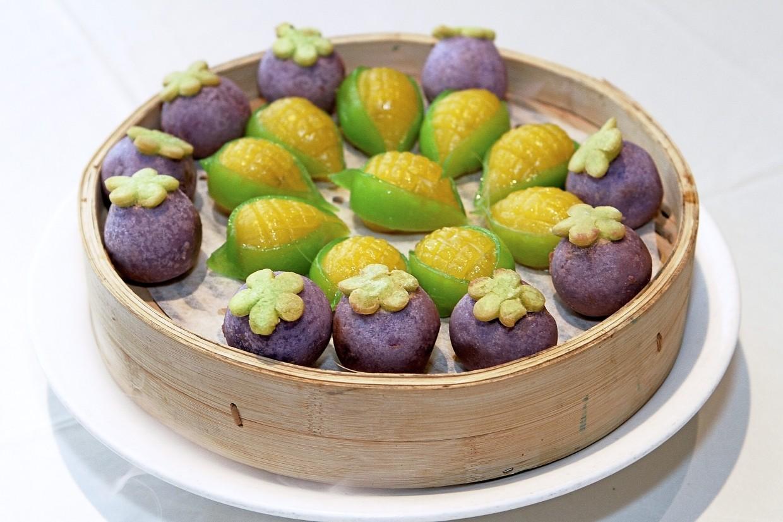 Sweet Corn Lotus Paste and Mangosteen Custard Lava.