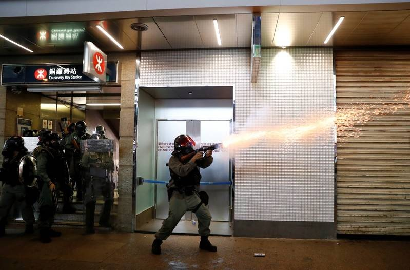 Hong Kong police fire tear gas as clashes erupt after