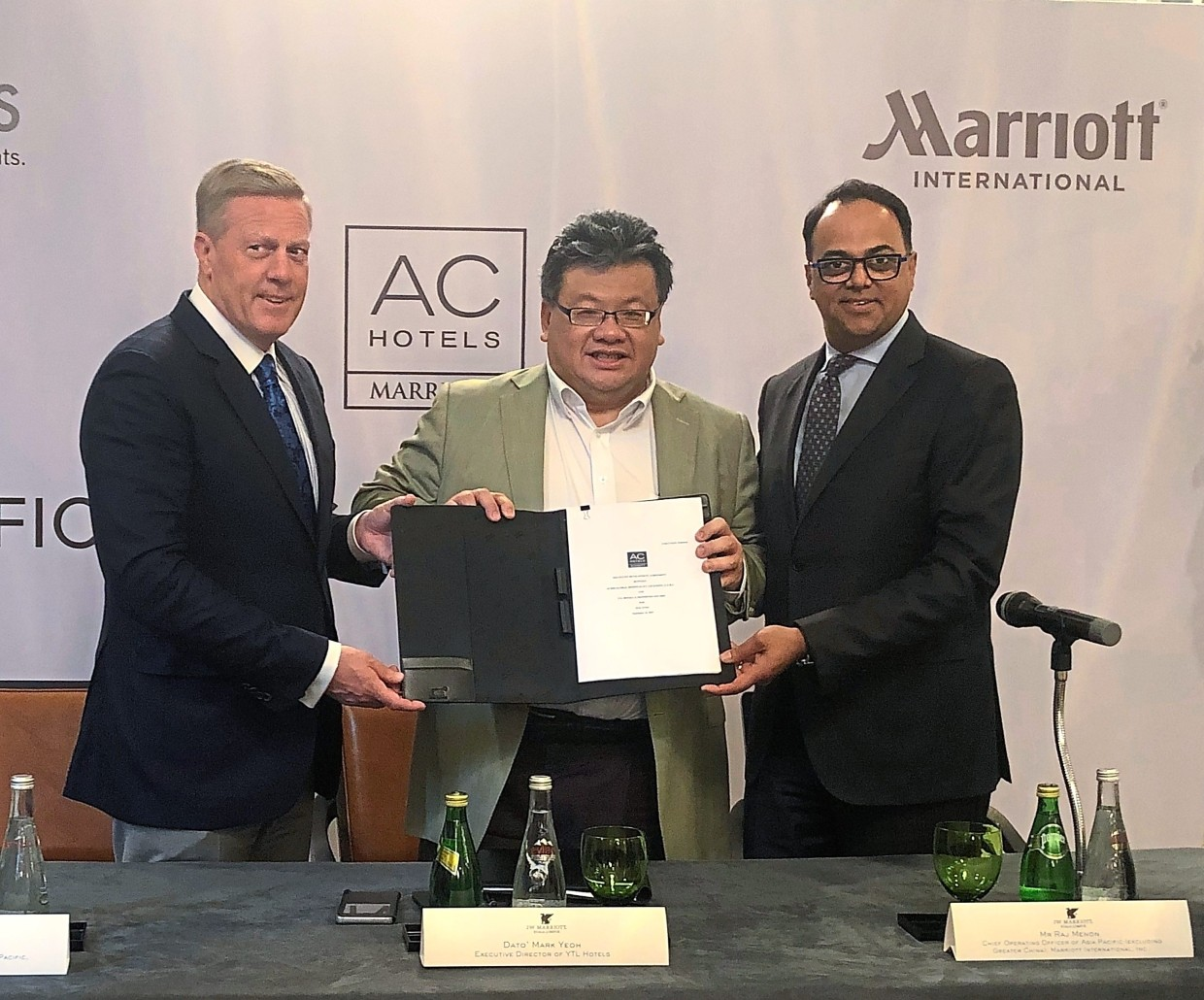 From left: Marriott International Asia Pacific president and managing director Craig Smith, YTL Hotels executive director Datuk Mark Yeoh and Marriott International chief operating officer Raj Menon.