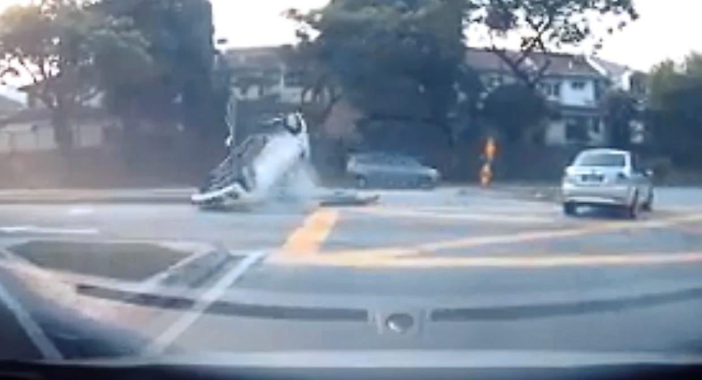 A screen grab of the accident at the dangerous junction between Jalan BU3/1 and Lebuh Bandar Utama last month.
