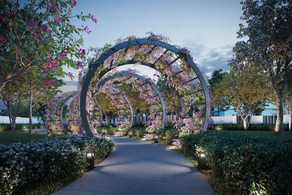 The residential enclave provides manicured landscapes with luxury garden pavilions for multi-sensory experiences.