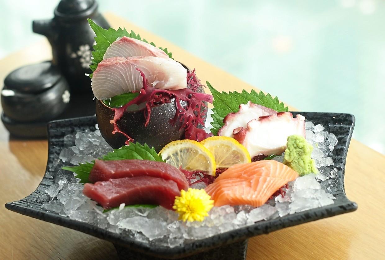 Chef's choice of fresh sashimi — tuna, octopus, salmon and red sea bream.
