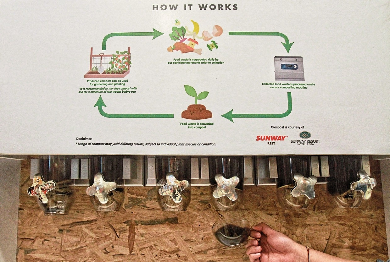 As part of the Food CPR on-ground event at the mall, shoppers can collect free compost from the dispensers. The chart explains how the composting process is done.