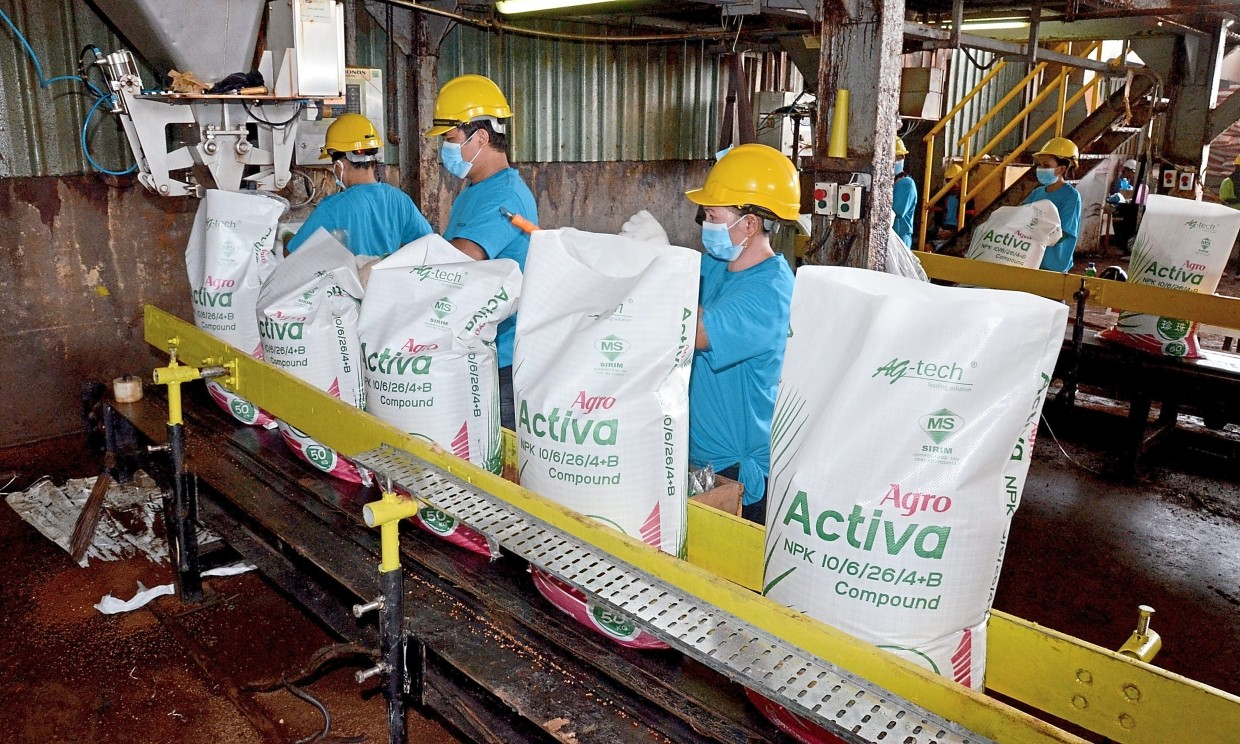 Fertiliser supplier: AMSB fertilisers under the Agro Activa brand are produced in Lahad Datu and bound for oil palm plantations.