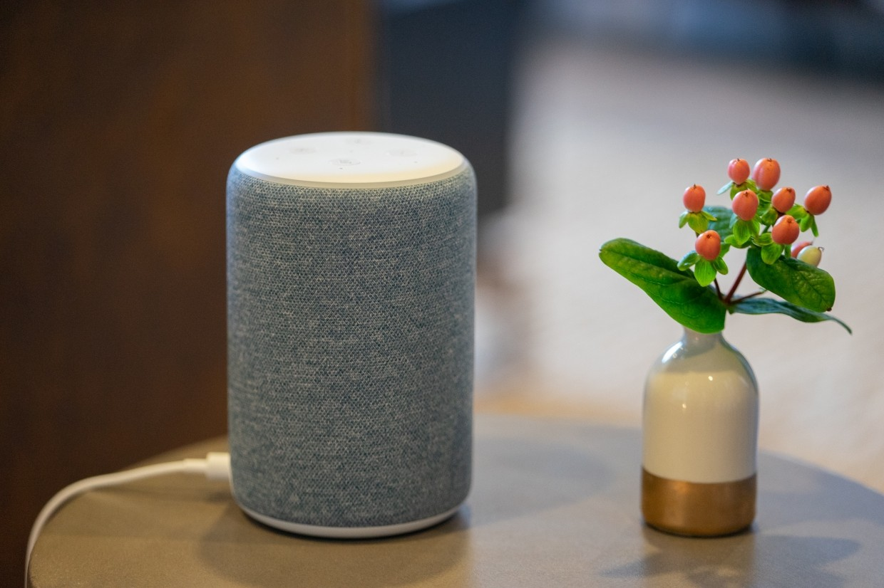 An Amazon.com Inc Echo Plus device is displayed during an unveiling event at the company's headquarters in Seattle, Washington, US.
