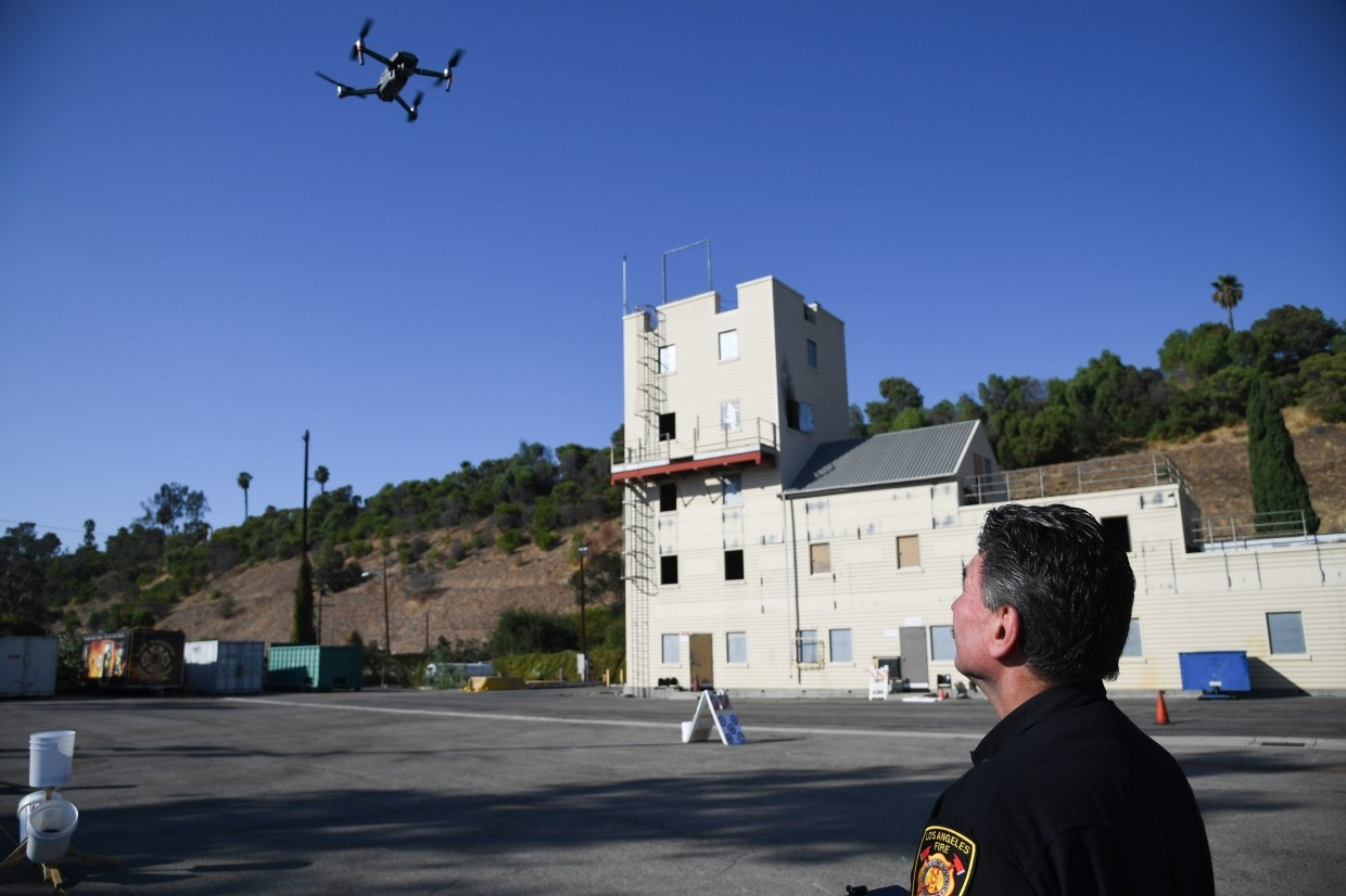 Drones are deployed during a demonstration at the Los Angeles Fire Department in Los Angeles, California.