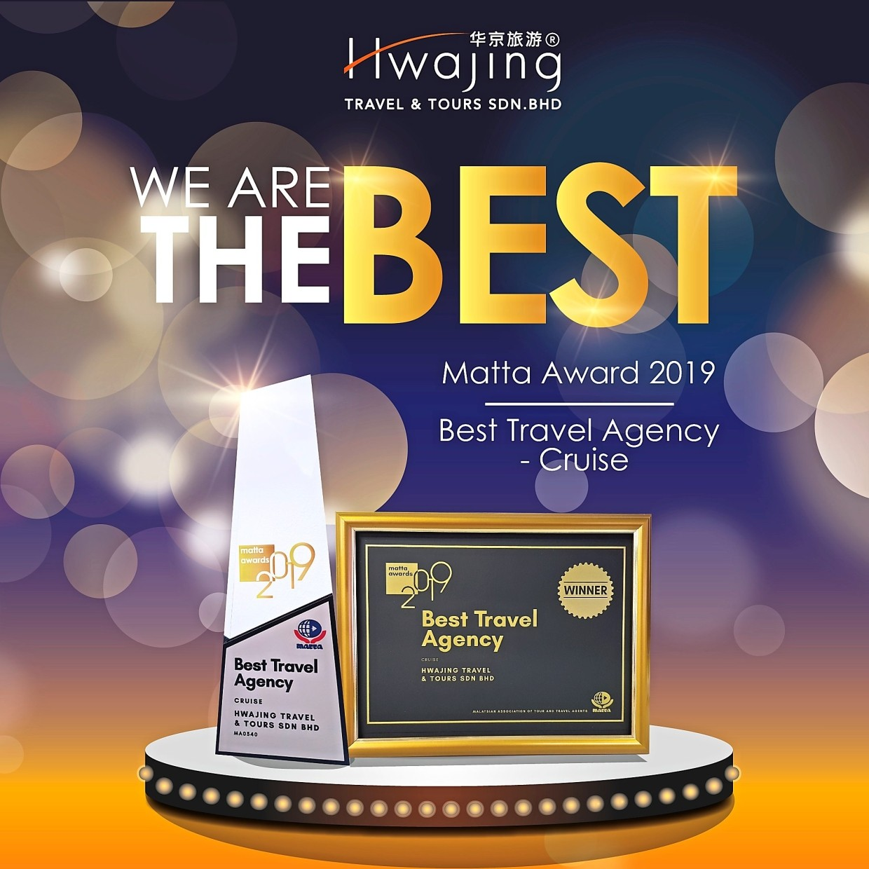 Hwajing was named the Best Travel Agency for Cruise at the MATTA Travel Awards 2019.