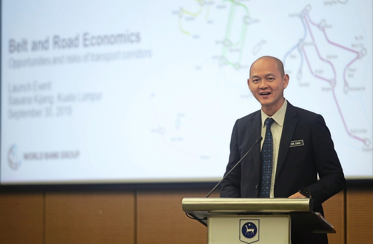 Deputy Minister of International Trade and Industry Dr Ong Kian Ming delivering his speech during the local launch of 'Belt and Road Economics: Opportunities and Risks of Transport Corridors' report at Sasana Kijang.