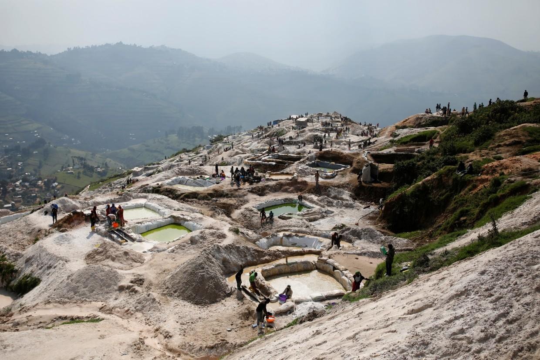 Labourers work at SMB coltan mine near the town of Rubaya.