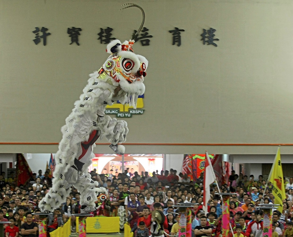 The lion dance troupe from Singapore Yi Wei Athletic Association mesmerising the crowd with a stunning performance.