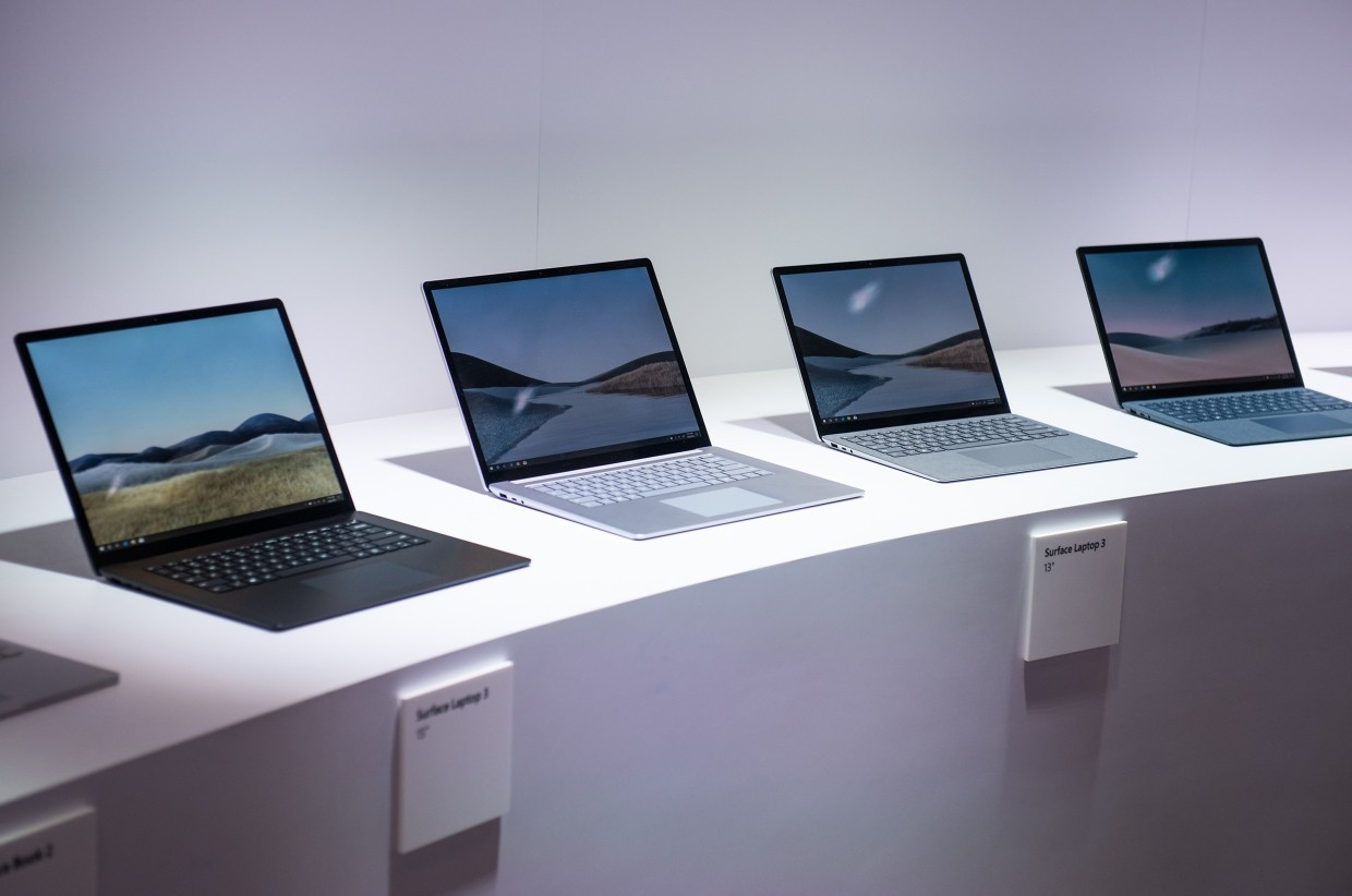 Microsoft Corp Surface Laptop 3 computers on display during a product event in New York.