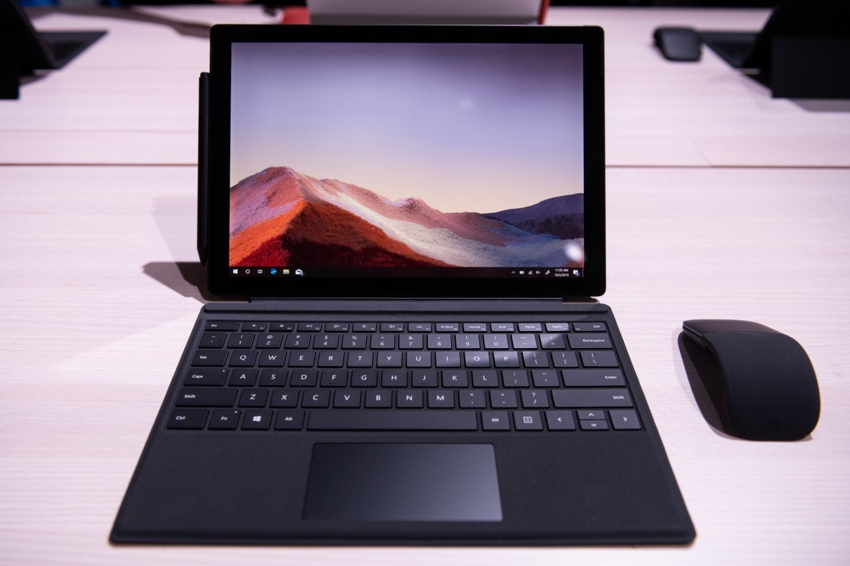 Microsoft's Surface Pro 7 tablet computer. The company's current lineup of Surface laptops and tablets is generally targeted at the high end of the electronics market – corporate users and gadget enthusiasts who value the sharp design or need the ability to blend work and personal functions on one device.