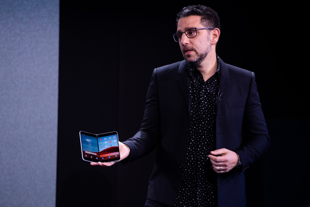 Panay displaying the Surface Duo smartphone during a Microsoft product event in New York, US. He even told Wired he doesn't want people to call it a phone.