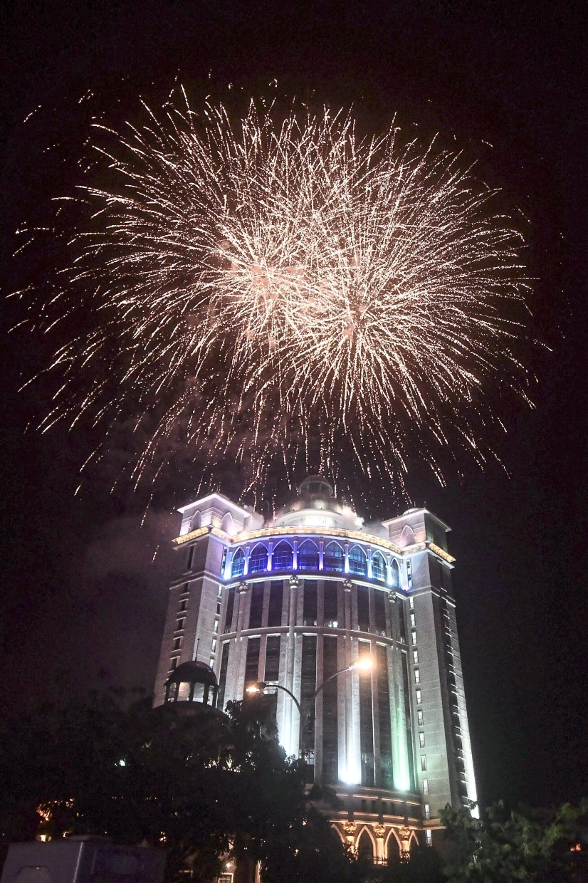Fireworks lighting up the sky above Menara Bandaraya in Bandar Perda, Bukit Mertajam to mark the   naming of the Seberang Prai City Council headquarters.