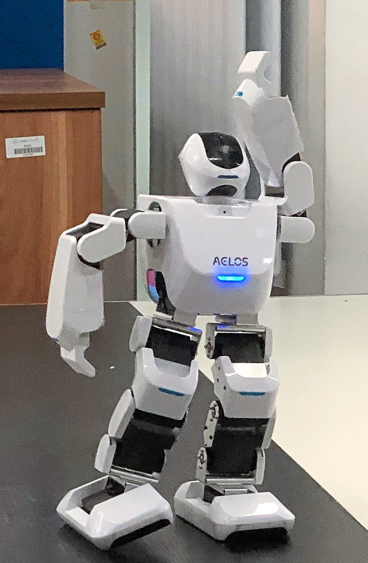 A robot 'performing' for visitors at Harbin Institute of Technology in Harbin, Heilongjiang, China.