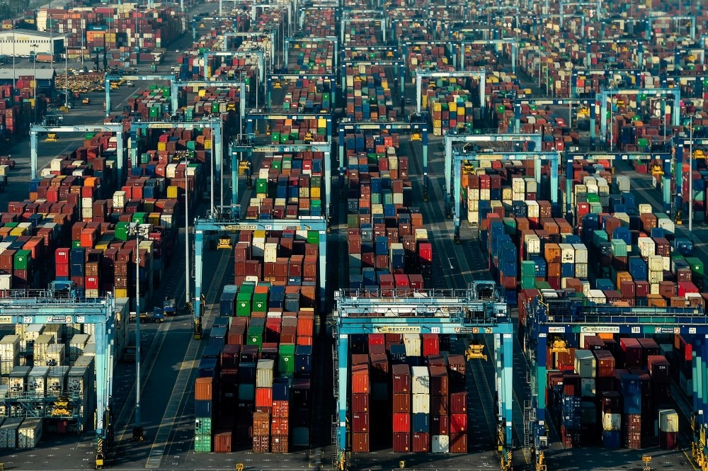 This general view shows shipping containers at Westports in Port Klang on May 28, 2019. (Photo by Mohd RASFAN / AFP)