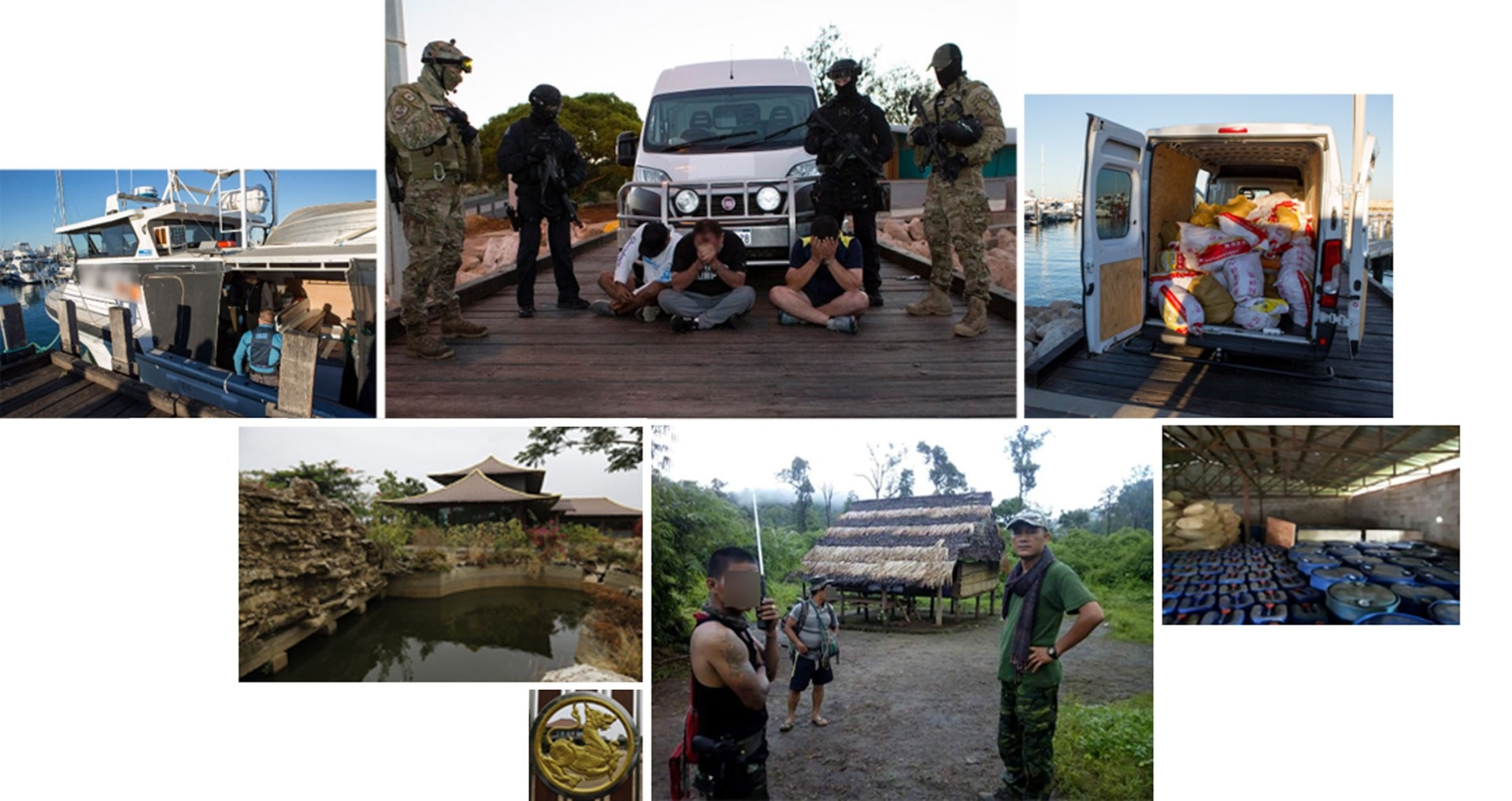 The police have had some wins, like the 2017 busts in Shan State and the remote Western Australian city of Geraldton where they seized 1.2 tonnes of meth and arrested alleged traffickers. They had less luck when they raided the compound of suspected senior syndicate member Sue Songkittikul (bottom row, wearing cap) in Thailand in December. He wasn't there. - Reuters