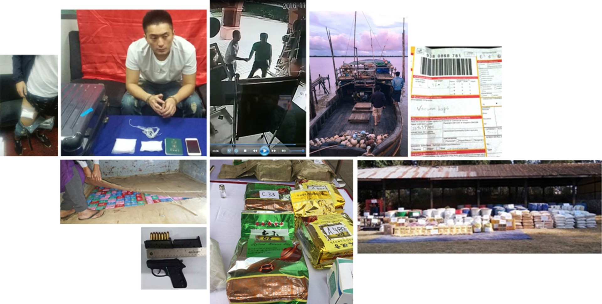 The tracking and arrest of Cai Jeng Ze (top row) in Yangon airport with ketamine strapped to his body led to the seizure of tonnes of drugs as well as weapons. Despite the arrest, police say the cartel continues to distribute meth and heroin. The starting point for the drug operation is Myanmar's Shan State, where the drugs are produced in sprawling facilities. - Reuters