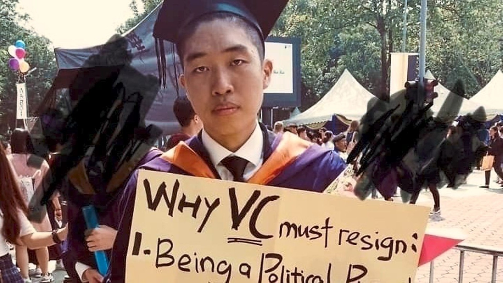 Wong calling for the VC's resignation at his graduation ceremony.