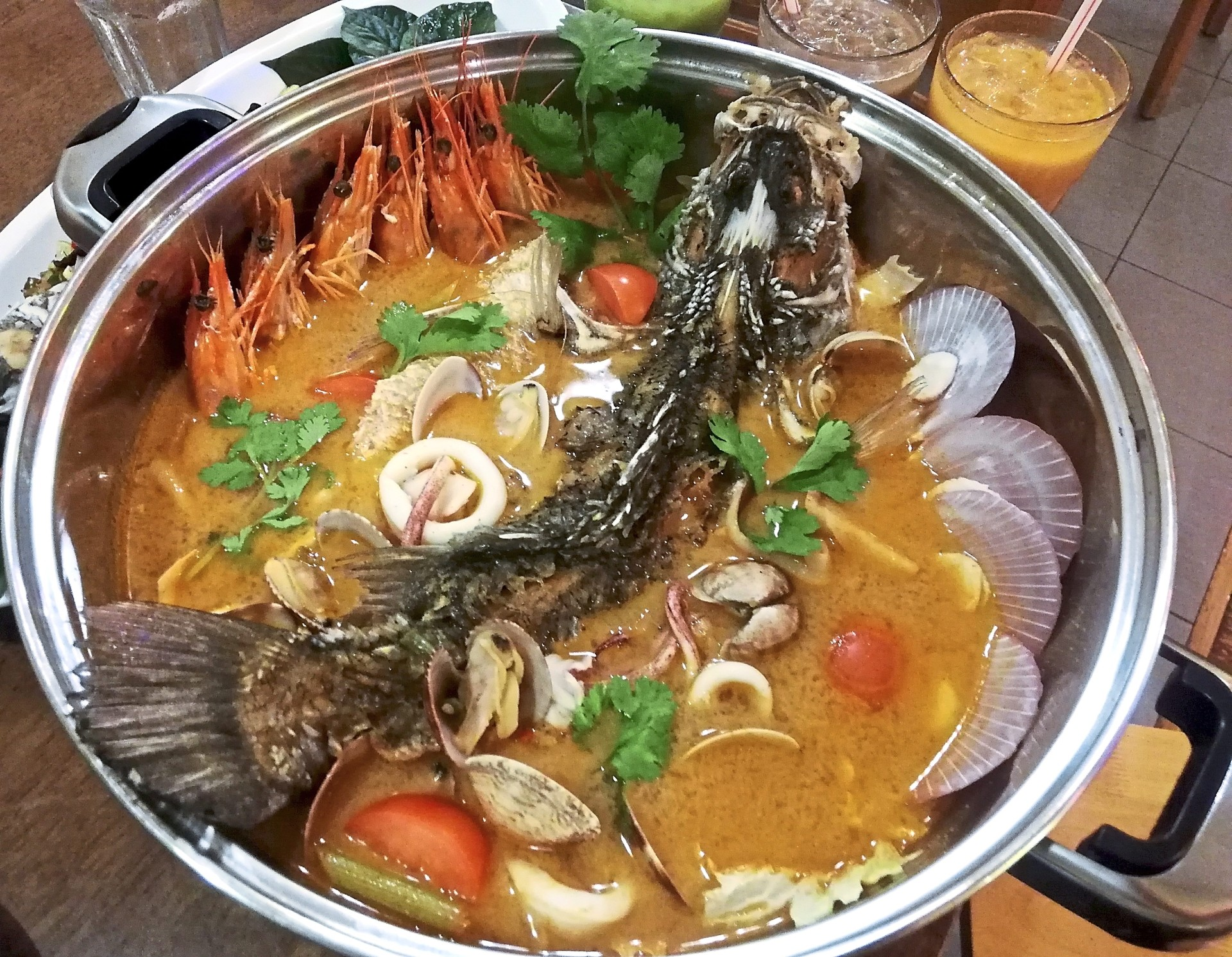 Tom yam lovers will enjoy the 'Super Moh Fai Talay'.