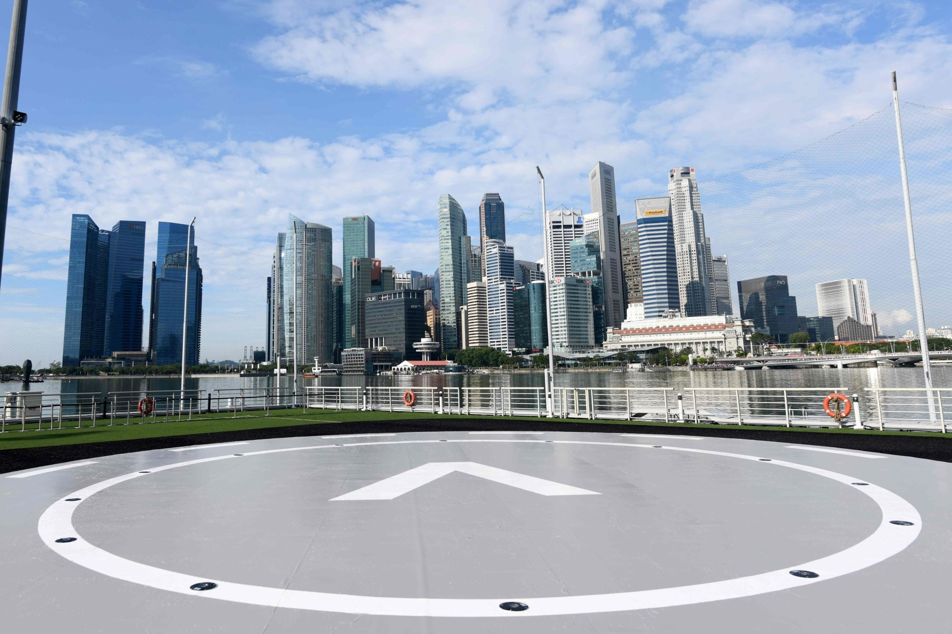 The VoloPort prototype launch pad is seen at Marina Bay against the city skyline where the Volocopter unmanned air taxi transport test flight took place in Singapore.
