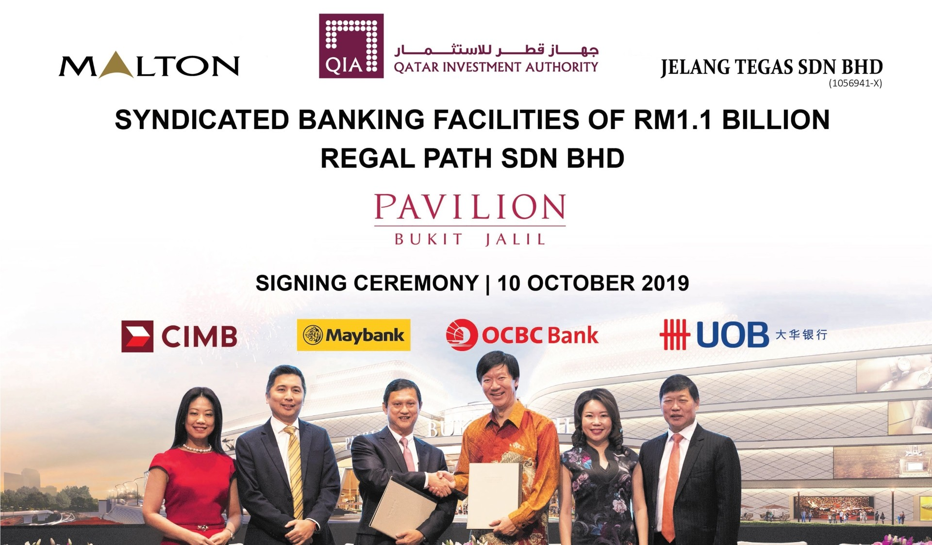 Done deal: Regal Path inked the facilities agreement with four banks to acquire Pavilion Bukit Jalil mall. (From left) UOB Bank (Malaysia) Berhad managing director Ng Wei Wei, Maybank managing director Michael Oh-Lau, Regal Path Sdn Bhd director Hong Lay Chuan, OCBC Bank (Malaysia) Berhad CEO Dato' Ong Eng Bin, OCBC Bank (Malaysia) Berhad managing director Tan Ai Chin and CIMB Bank Berhad group head corporate banking Lo Nyen Khing signing the agreement at Pavilion Hotel Kuala Lumpur.