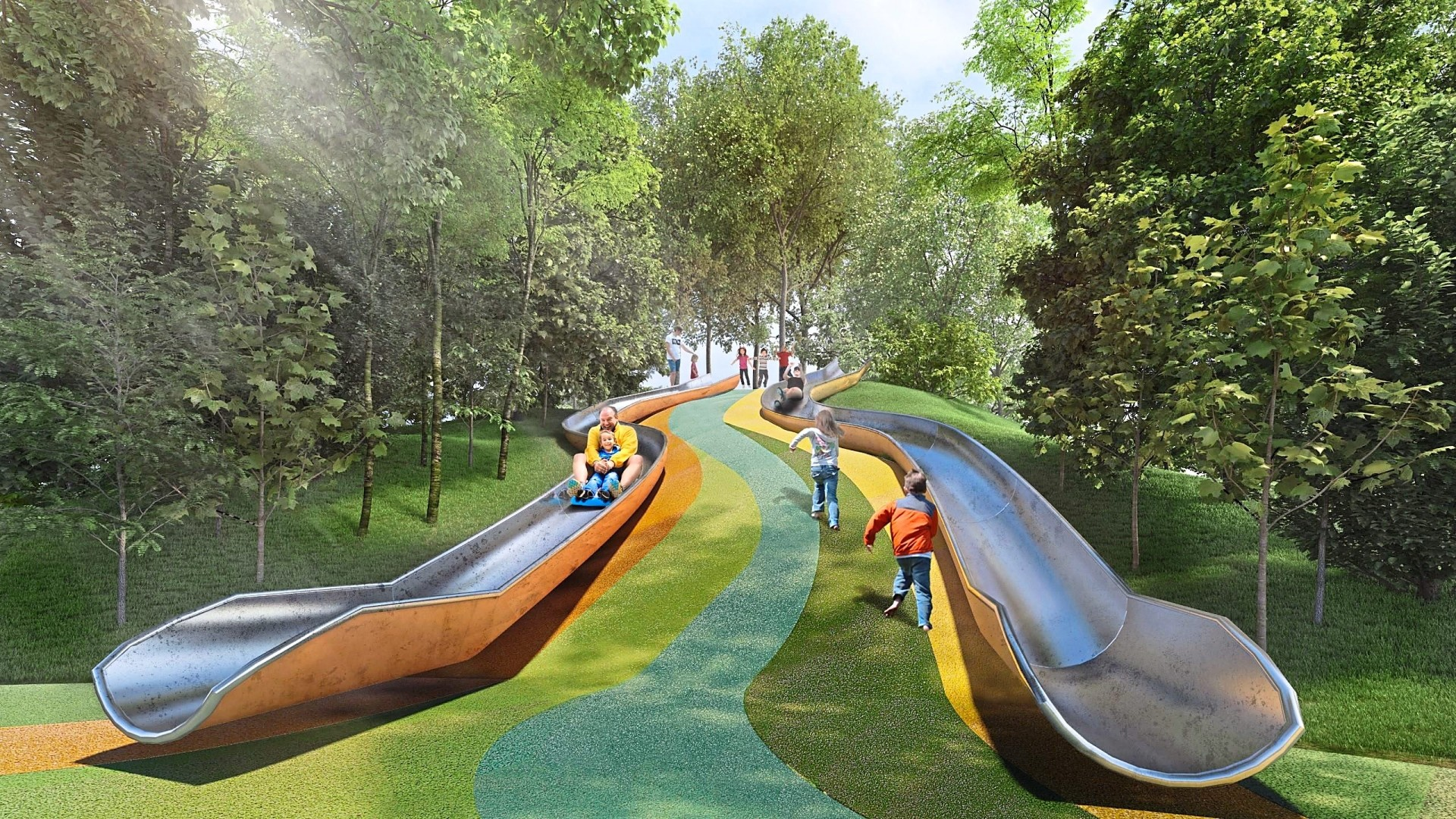 Nestled among the natural landscapes, the Central Park will be the main community gather place with facilities such as these giant slides conducive for outdoor activities.
