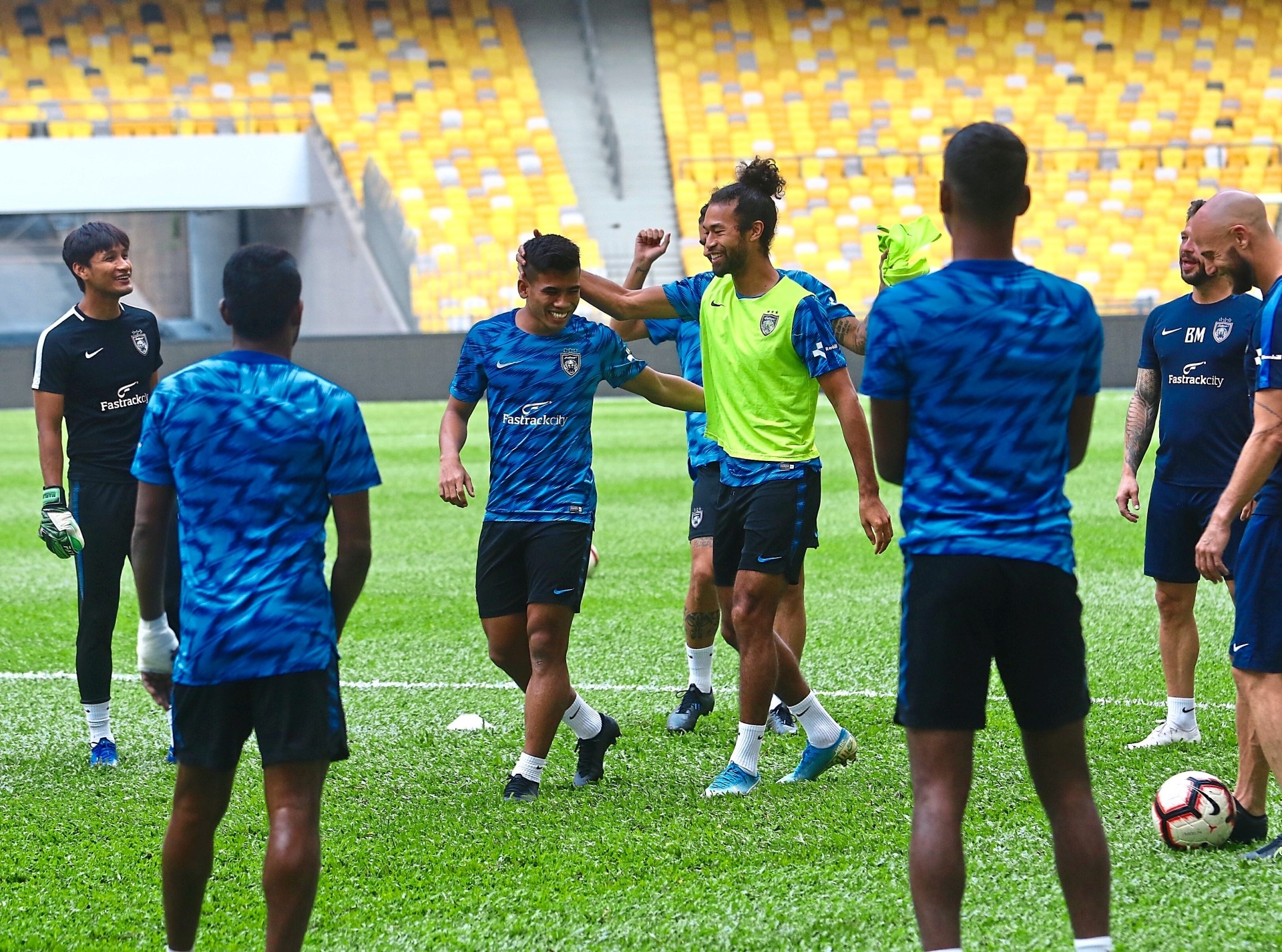 No stress: Johor Darul Ta'zim team players going through their drills during training yesterday. — FAIHAN GHANI / The Star