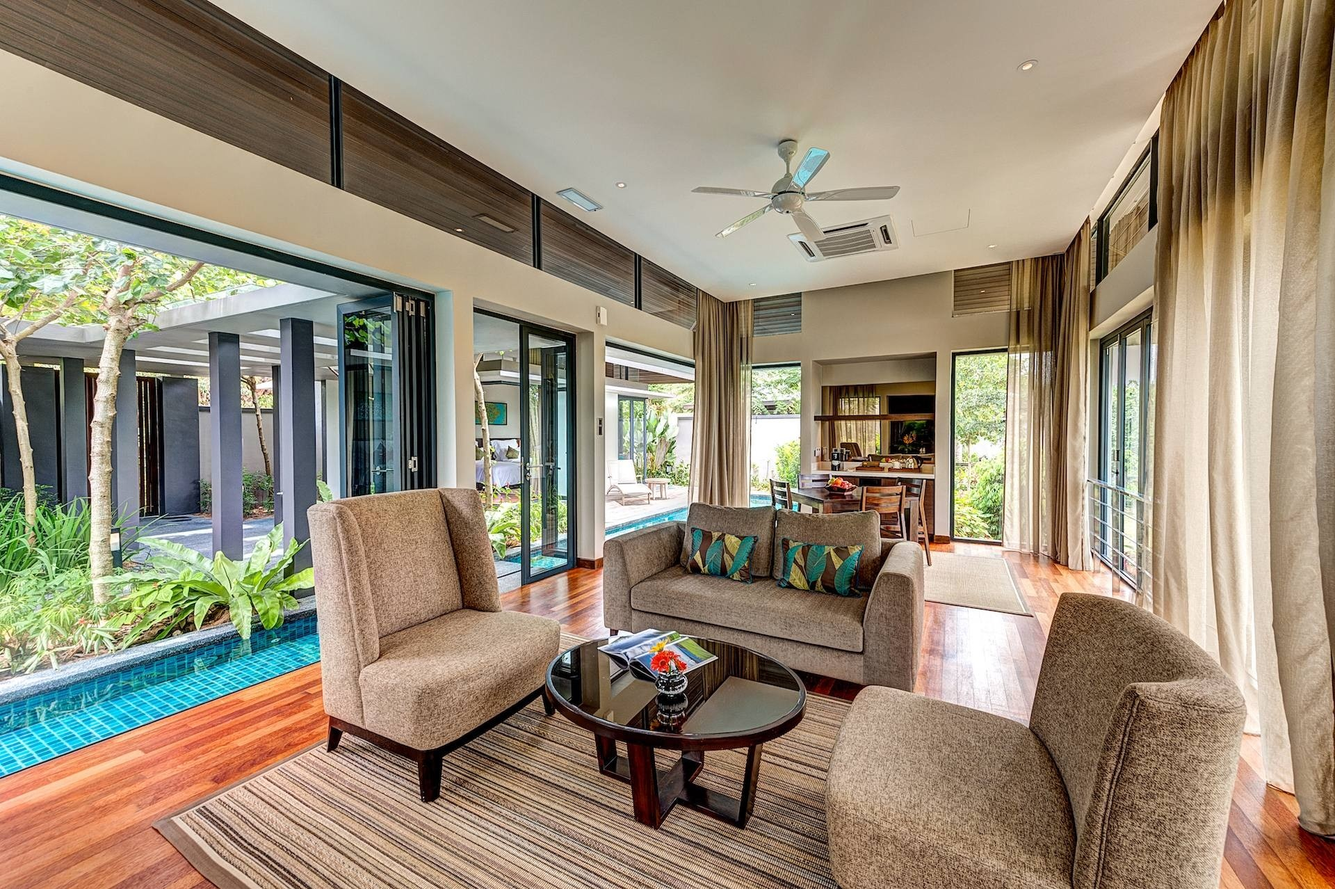 The living room in Vana suite at the resort.
