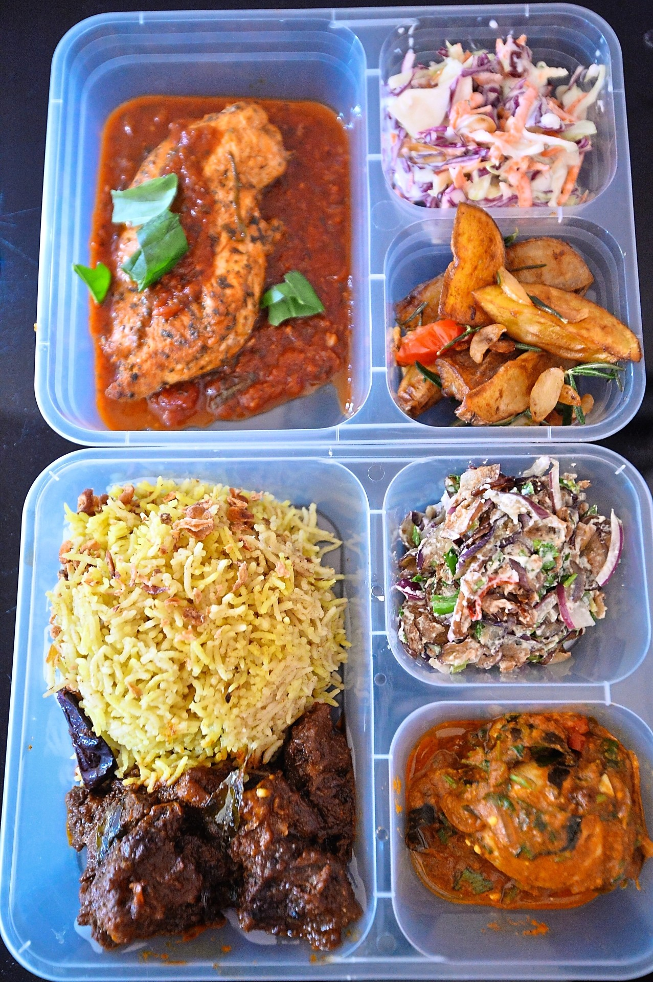 Each lunch box is packed with enough meat, vegetables and rice, or any  other form of carbohydrate. Sharmini also has vegetarian options.